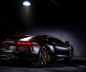 Matte Black Lamborghini Aventador on Vellano wheels Wallpaper