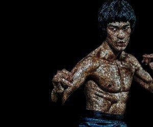 Bruce Lee Typographic Art Portrait Wallpaper