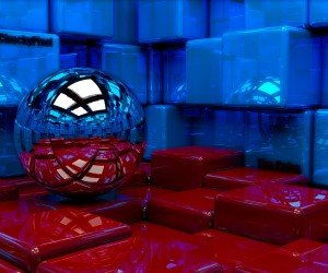 Metallic Sphere Reflecting The Cube Room Wallpaper