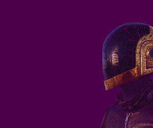 Daft Punk Typographic Portrait Wallpaper
