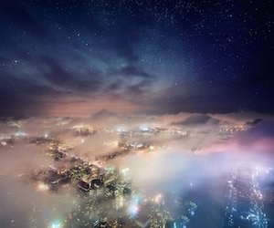 Cosmic New York City Wallpaper