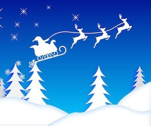 Santa's Sleigh Illustration Wallpaper