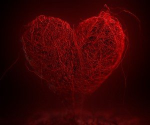 3D String Art Heart Wallpaper