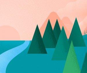 Modern Flat Landscape Wallpaper